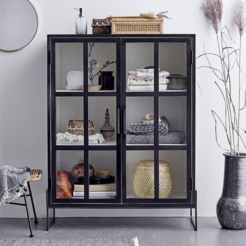 Petit meuble vitrine blanc et noir 2 portes vitrées - Veri