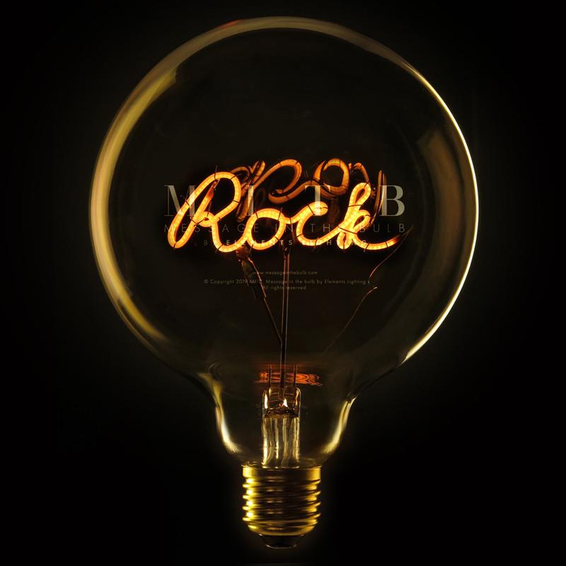 Ampoule déco design message - Rock