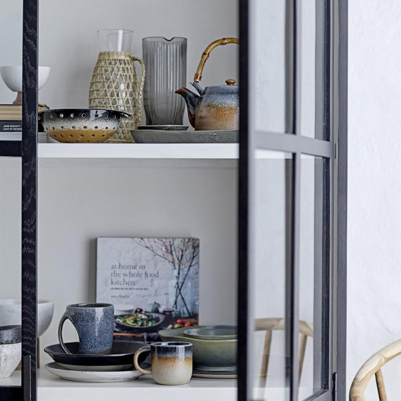 Meuble vitrine noir et blanc 2 portes vitrees Bloomingville - Veri