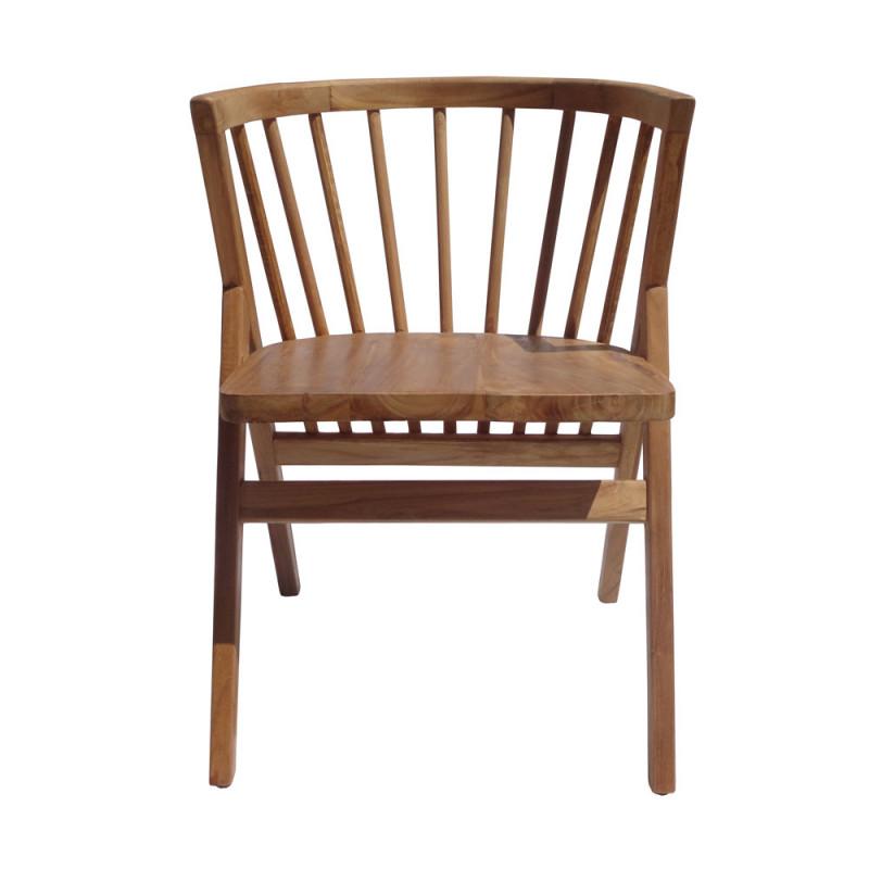 Chaise design à barreaux en bois avec accoudoirs - Lenny