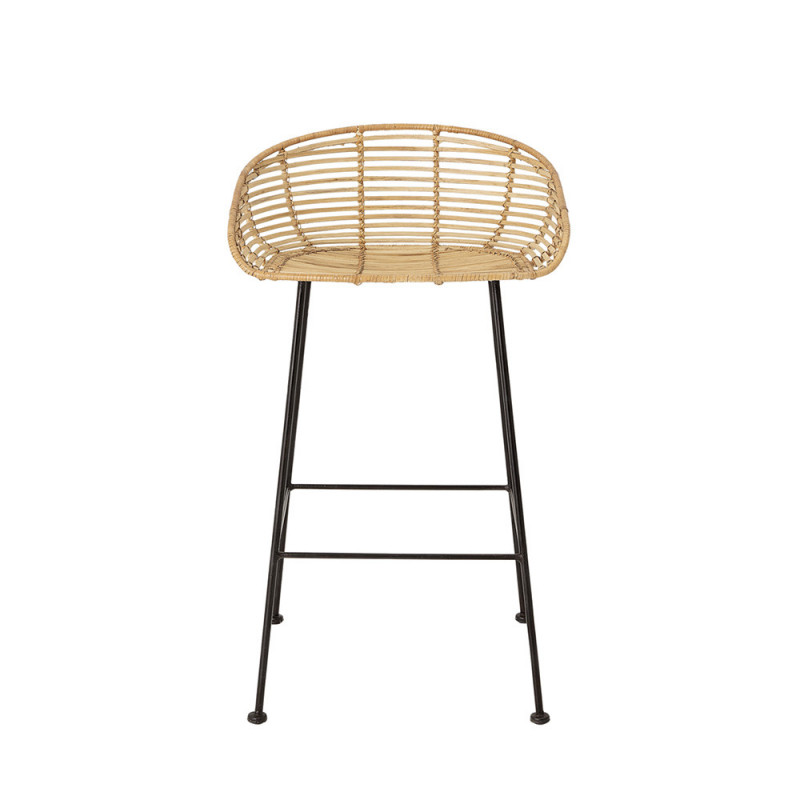 Tabouret de bar rotin naturel et pied metal Bloomingville - Lena