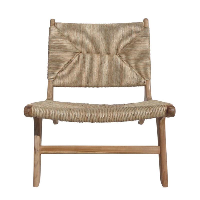 Fauteuil bas design en bois et fibre naturel - Creti
