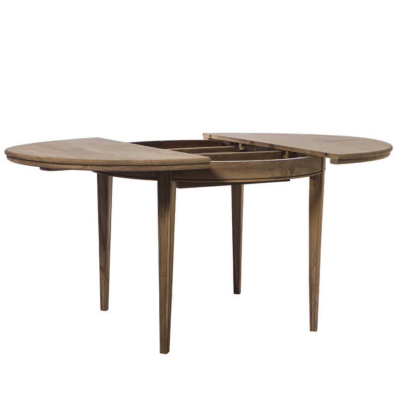 Table bois ronde extensible style campagne chic 110cm - Charm