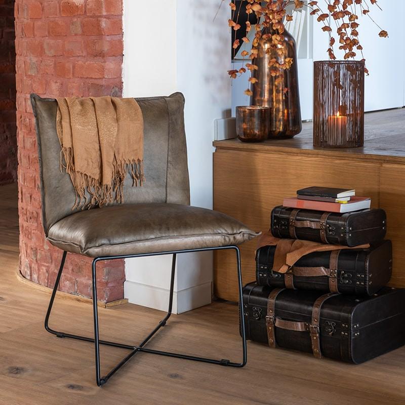 Petit fauteuil cuir marron industriel - Syl