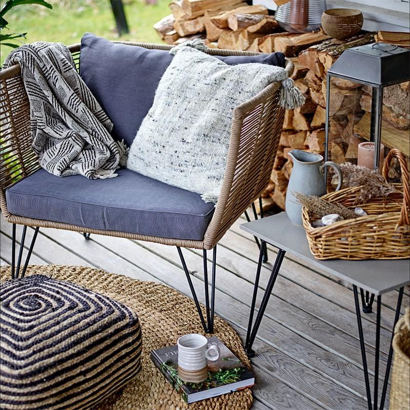 Fauteuil de jardin gris design confortable Bloomingville - Forest