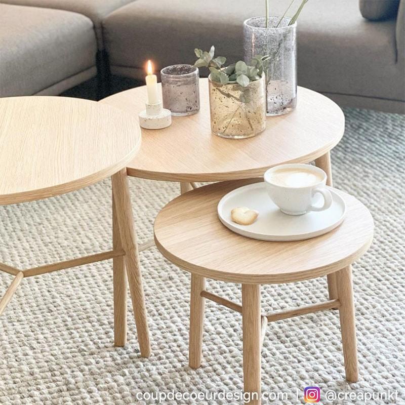 Table basse gigogne bois naturel ronde - Sine