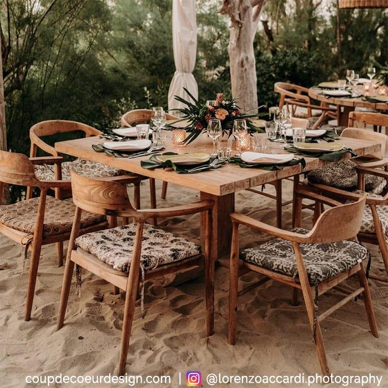 Chaise en bois naturel californienne avec accoudoirs - Mia