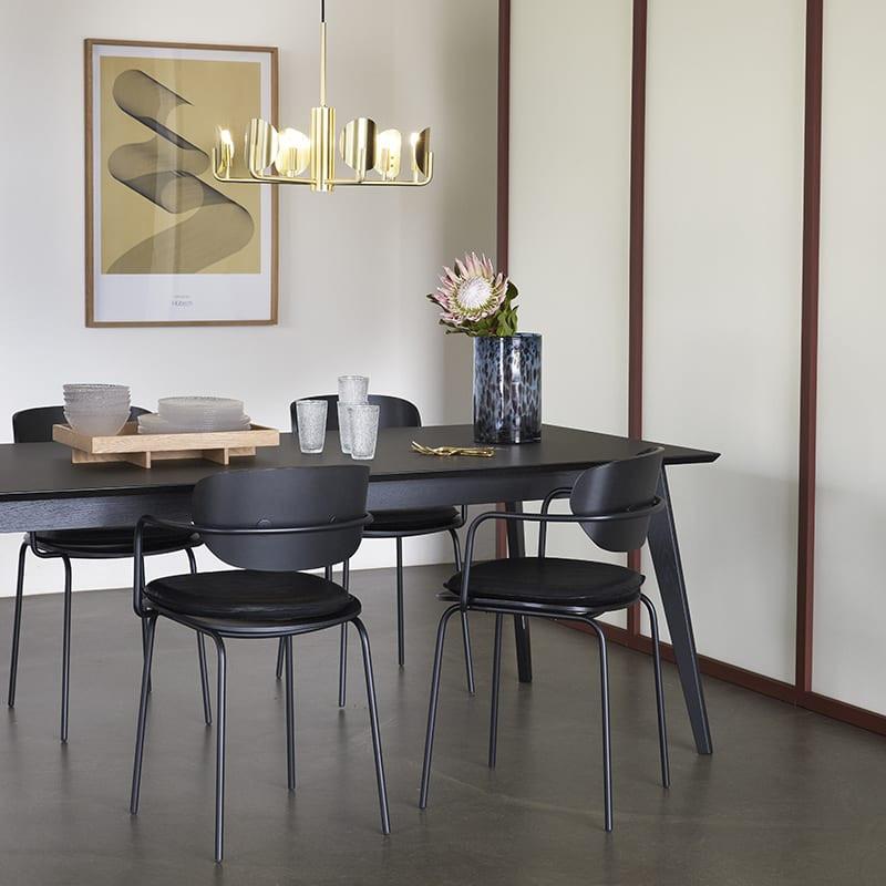 Chaise vintage bois noir avec accoudoirs Hubsch - Mia