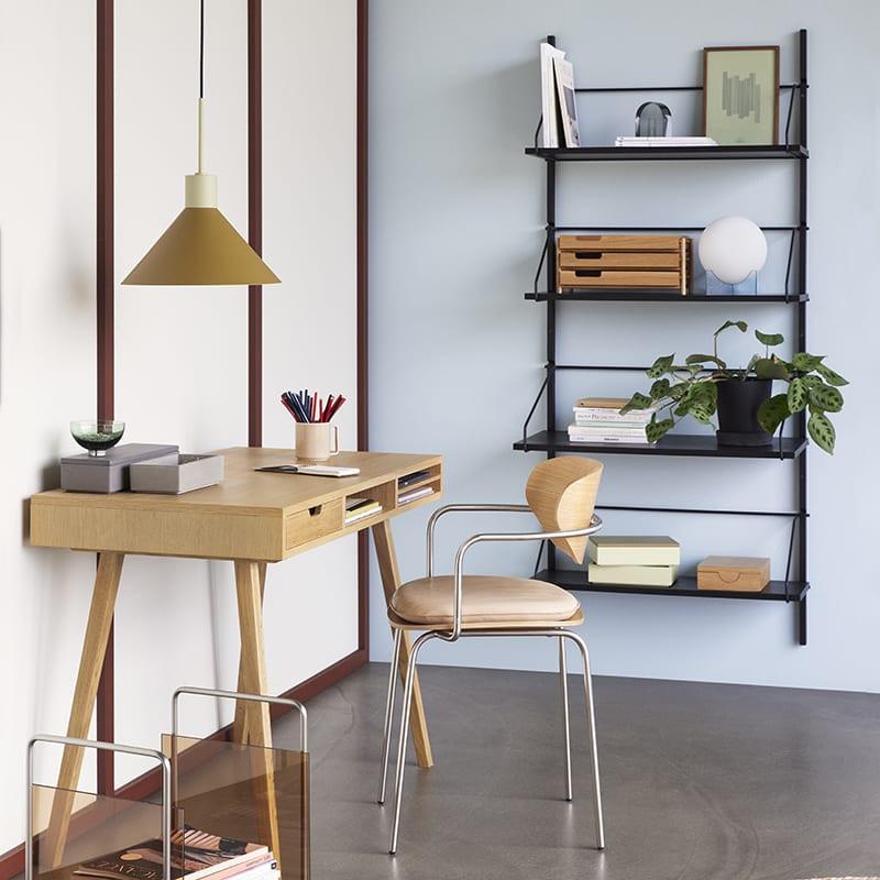Bureau scandinave en bois 1 tiroir et 3 niches Hubsch - Sine