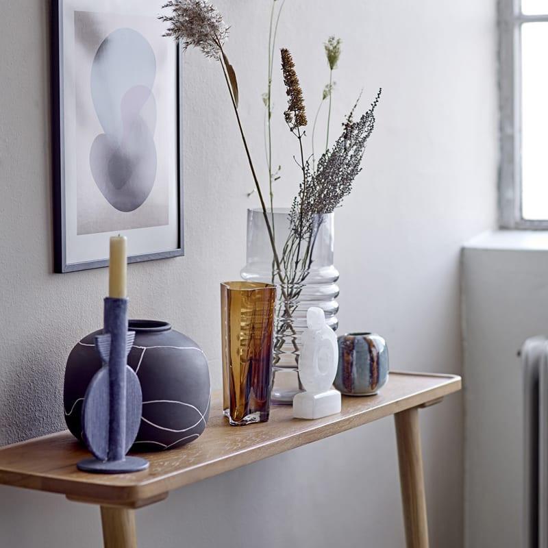 Vase décoratif noir et blanc en terre cuite - Niza