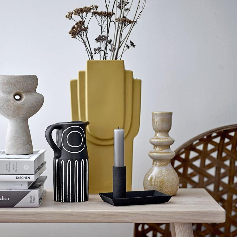 Vase noir pichet motifs ethniques - Troy