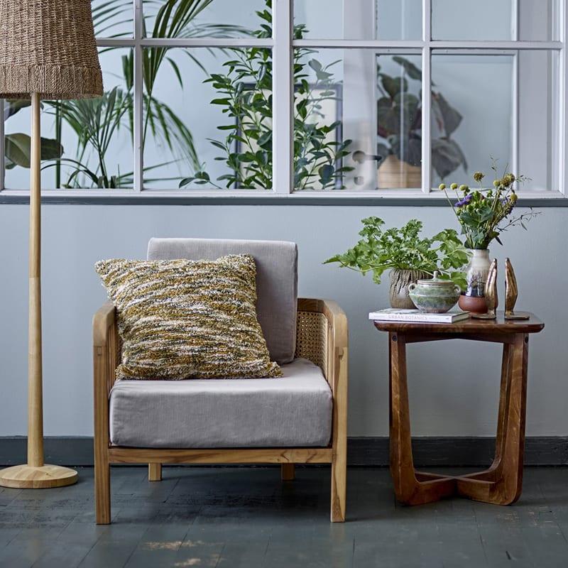 Bout de canapé bois foncé carré - Rine