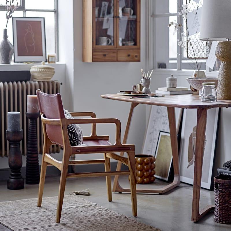 Chaise design cuir marron et bois Bloomingville - Ollie