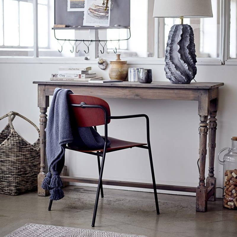 Chaise design vintage métal et bois foncé - Piter