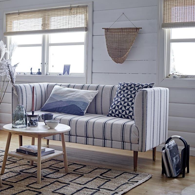 Coussin rectangulaire bleu et blanc - Gaja