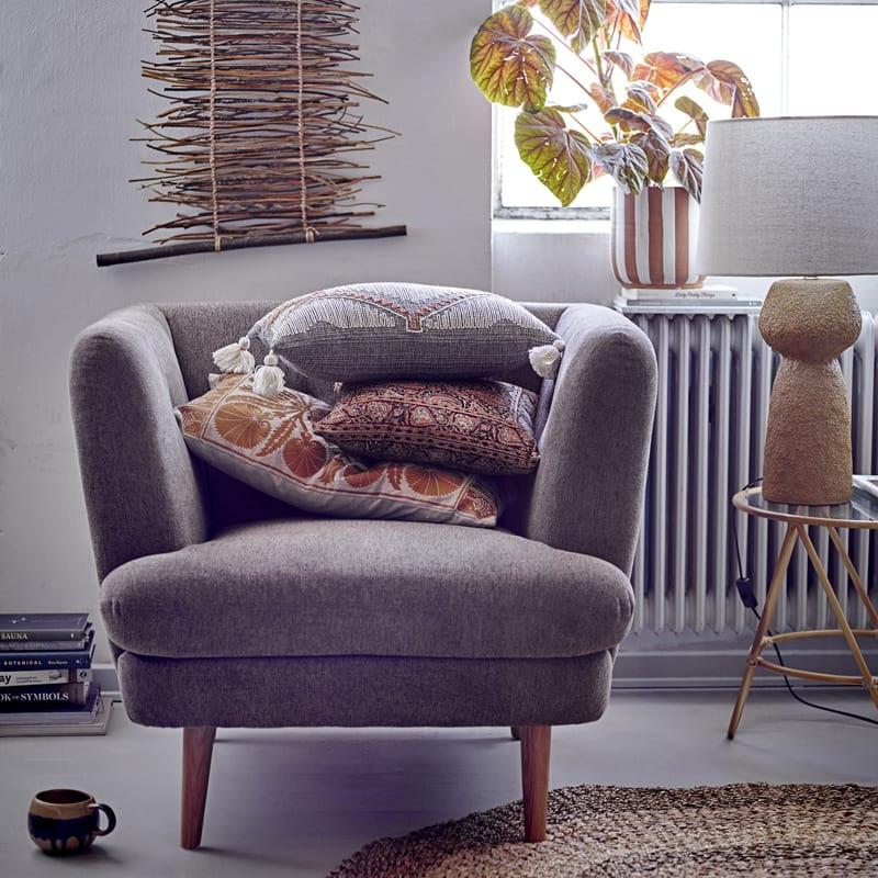 Fauteuil scandinave vintage tissu marron - Cloud