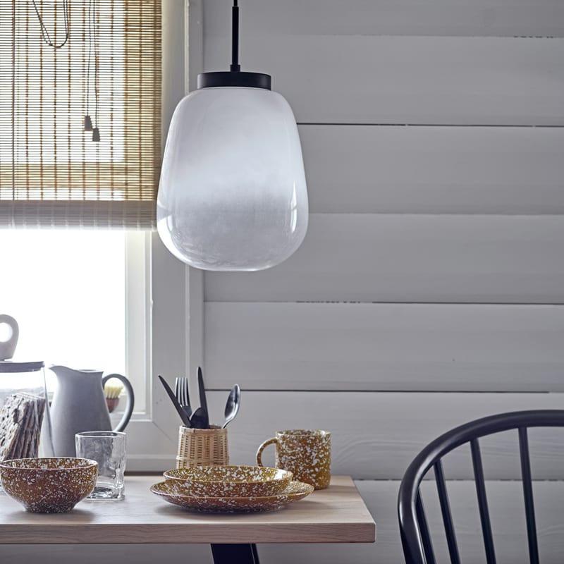 Lampe suspension design en verre blanc - Ece