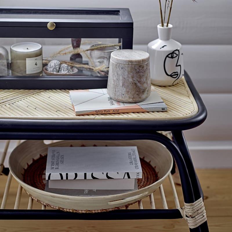 Petite table basse en rotin noir et naturel - Loue