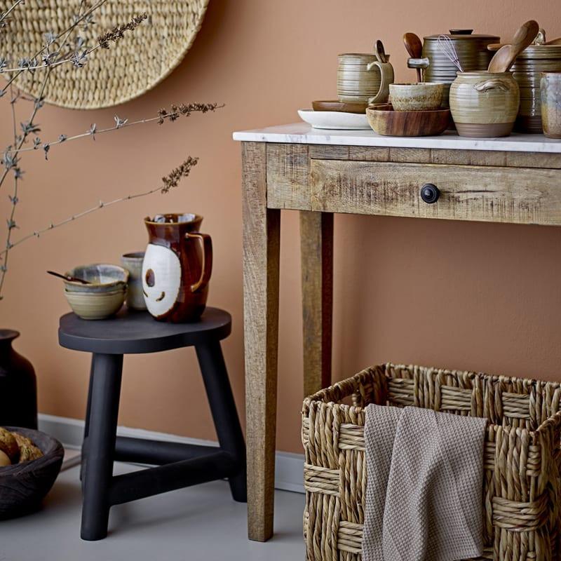 Tabouret noir en bois - Malie