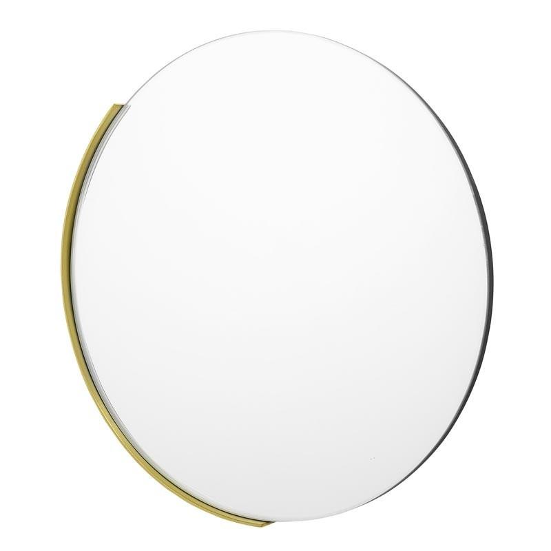 Miroir rond en verre et métal doré - Soubi