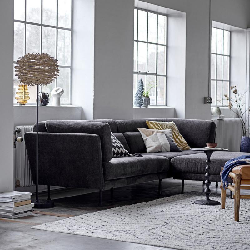 Grand canapé droit en tissu gris anthracite - Conti
