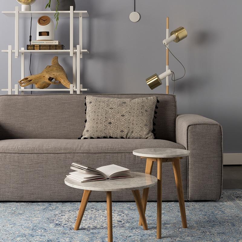 Canapé 3 places en tissu gris clair contemporain - Bor