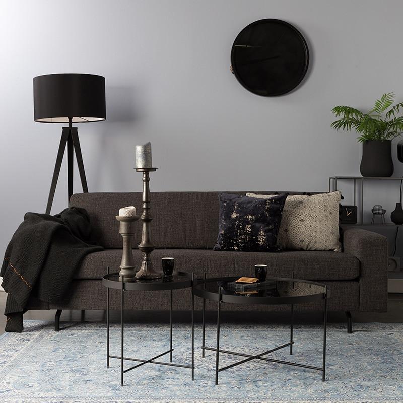 Canapé droit tissu gris anthracite confortable - Jean