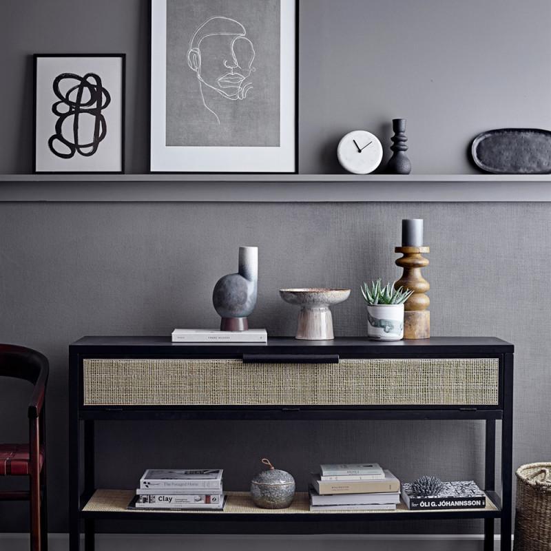 Cadre deco noir peinture minimaliste noir et blanc - Pola
