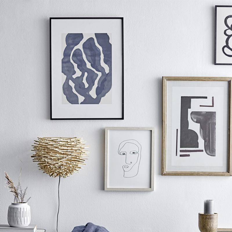 Cadre deco noir peinture minimaliste abstraite bleu - Scinto