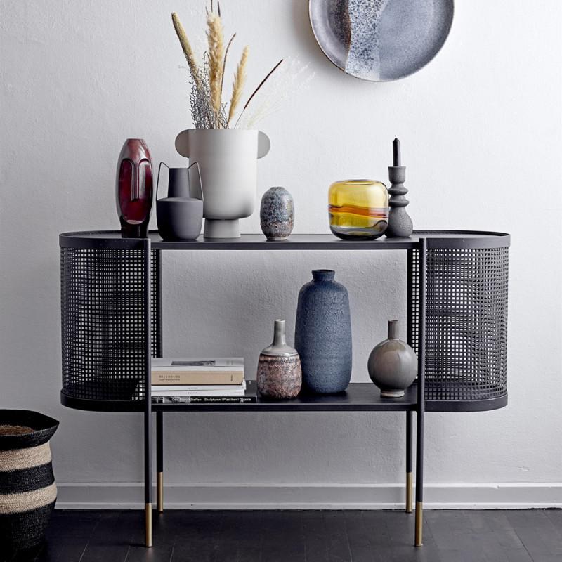 Meuble console en métal noir design Bloomingville - Kuns