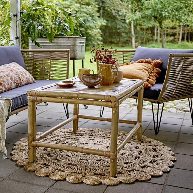 Table basse jardin bois naturel de bambou - Sunri