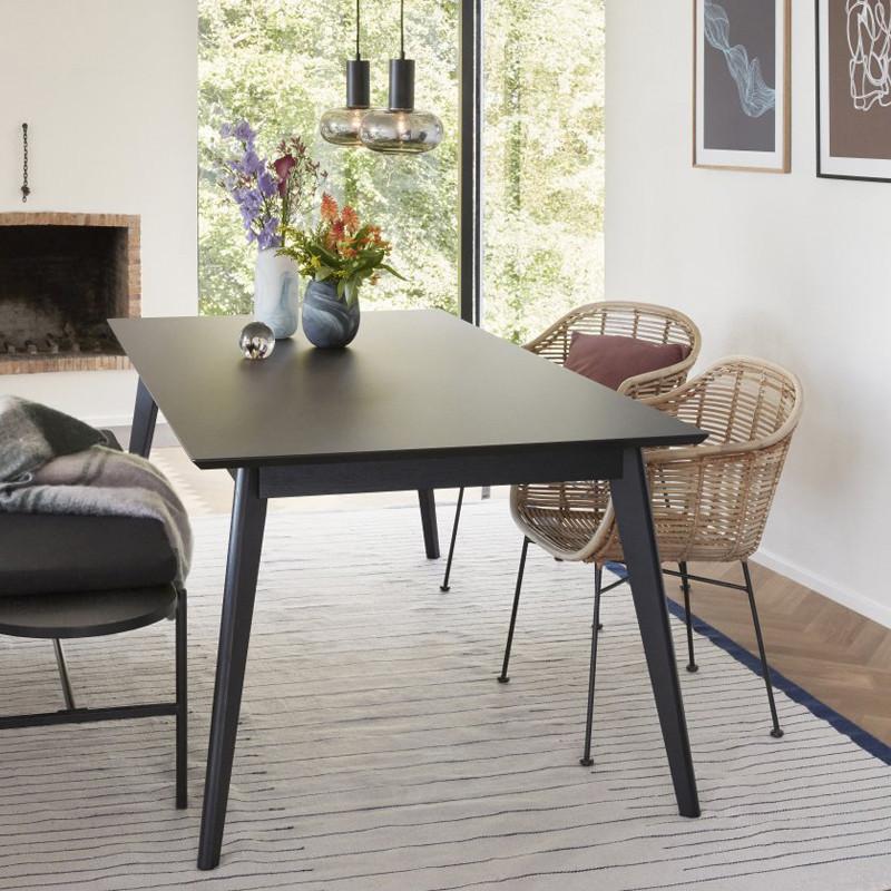 Table noir en bois rectangulaire Hubsch - Ever