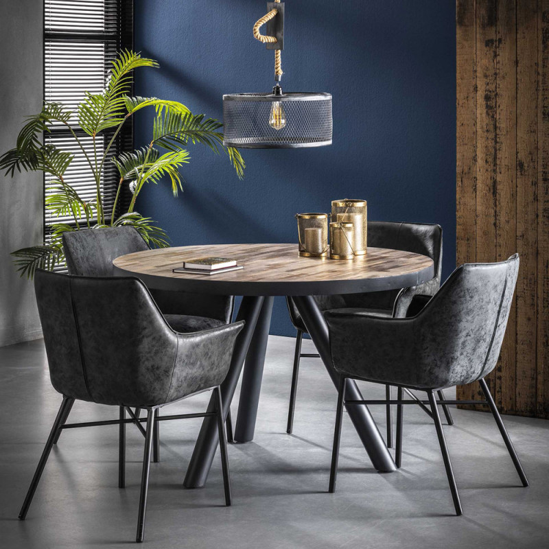 Chaise design style industriel noir avec accoudoirs - Vex