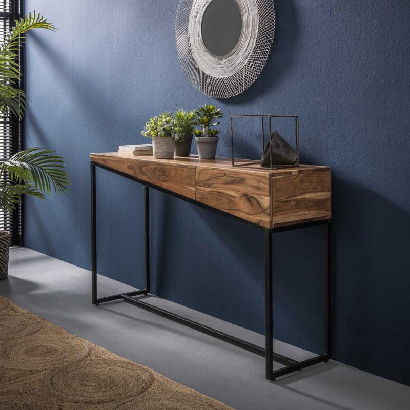 Meuble console industriel bois et métal - Acacia