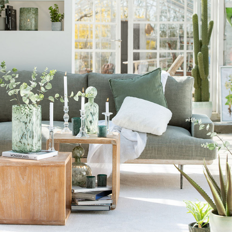 Canapé gris clair design et bois - Siro