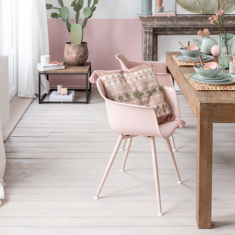 Chaise avec accoudoirs rose design - Dona